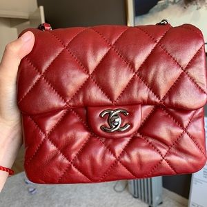 Chanel classic flap mini red lambskin bag